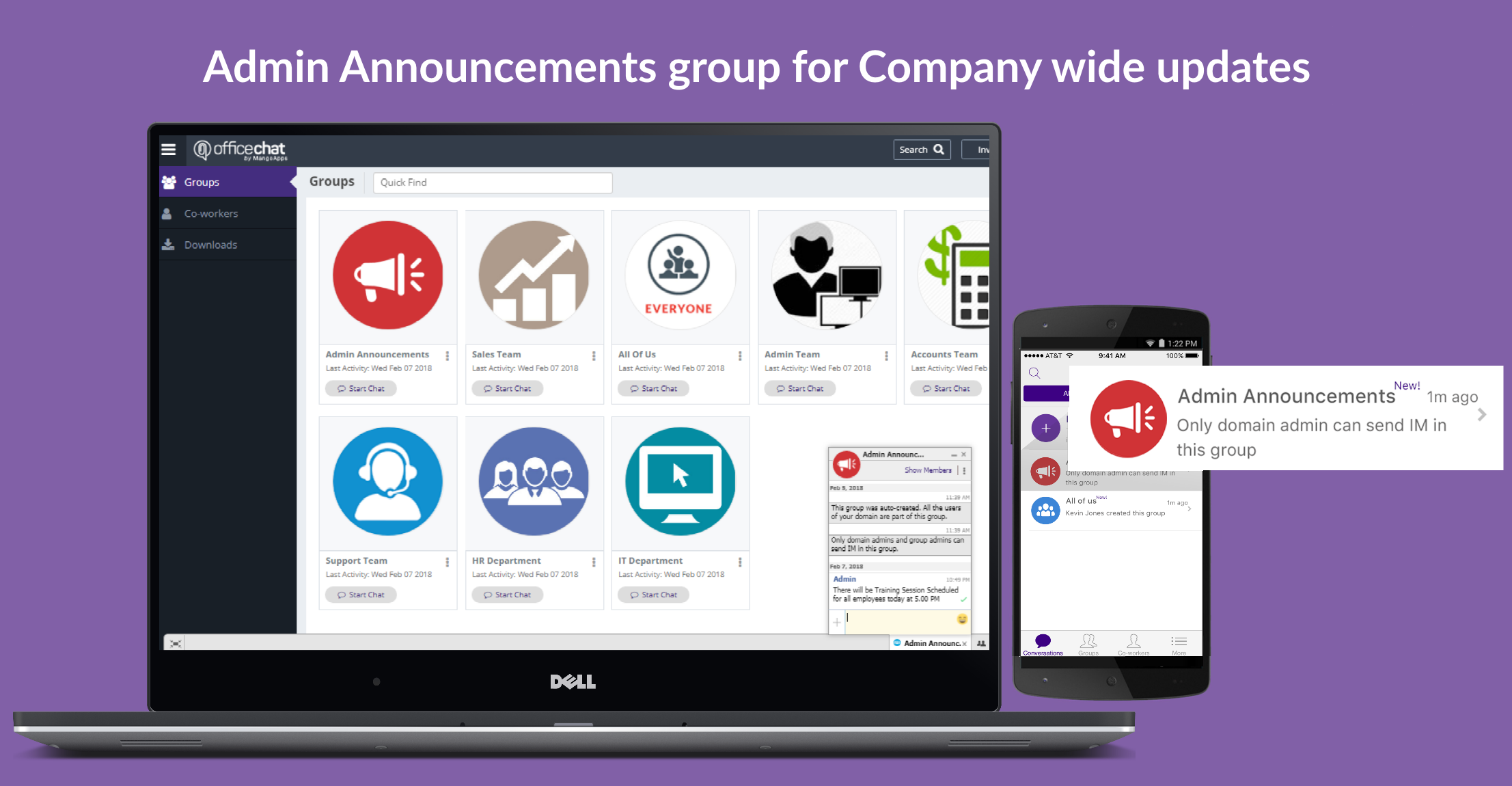 Office Chat Admin Announcements