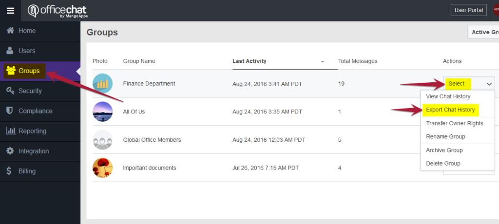 Admin Portal - Export Chat History