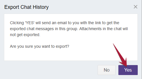 Admin Portal - Export Chat History - Confirmation
