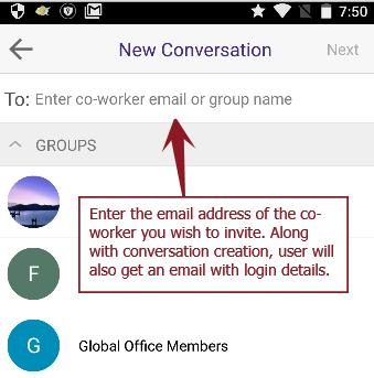 New conv invite - Android