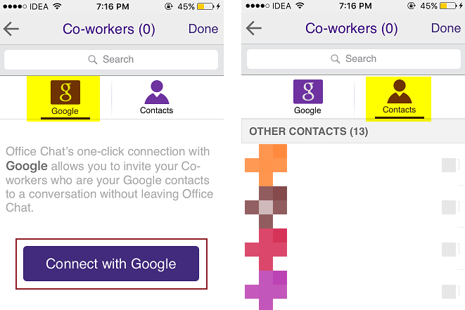 iOS Google and Phone Contacts