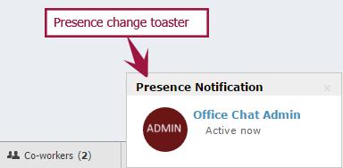 Web - Presence change toaster