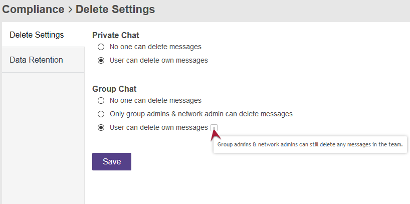 Delete Settings