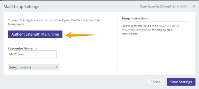 Mail Chimp Configure Integrations 4