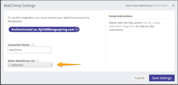 Mail Chimp Configure Integrations 5